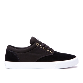 Womens Supra Low Top Shoes CHINO COURT Black/gum | AU-49962