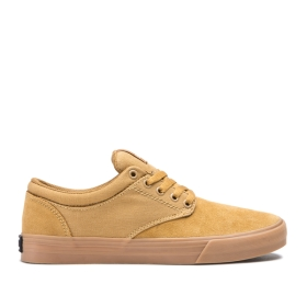 Womens Supra Low Top Shoes CHINO Tan/gum | AU-45538