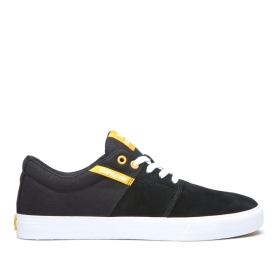 Womens Supra Low Top Shoes STACKS II VULC Black/Golden/white | AU-80748