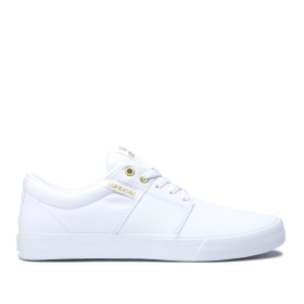 Womens Supra Low Top Shoes STACKS II VULC White/Gold/white | AU-98352